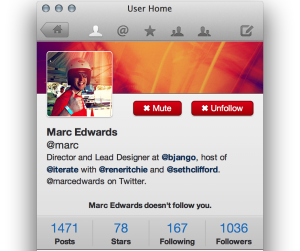 User Home: view a user's profile and recent posts. Of course @marc makes a screenshot appearance.